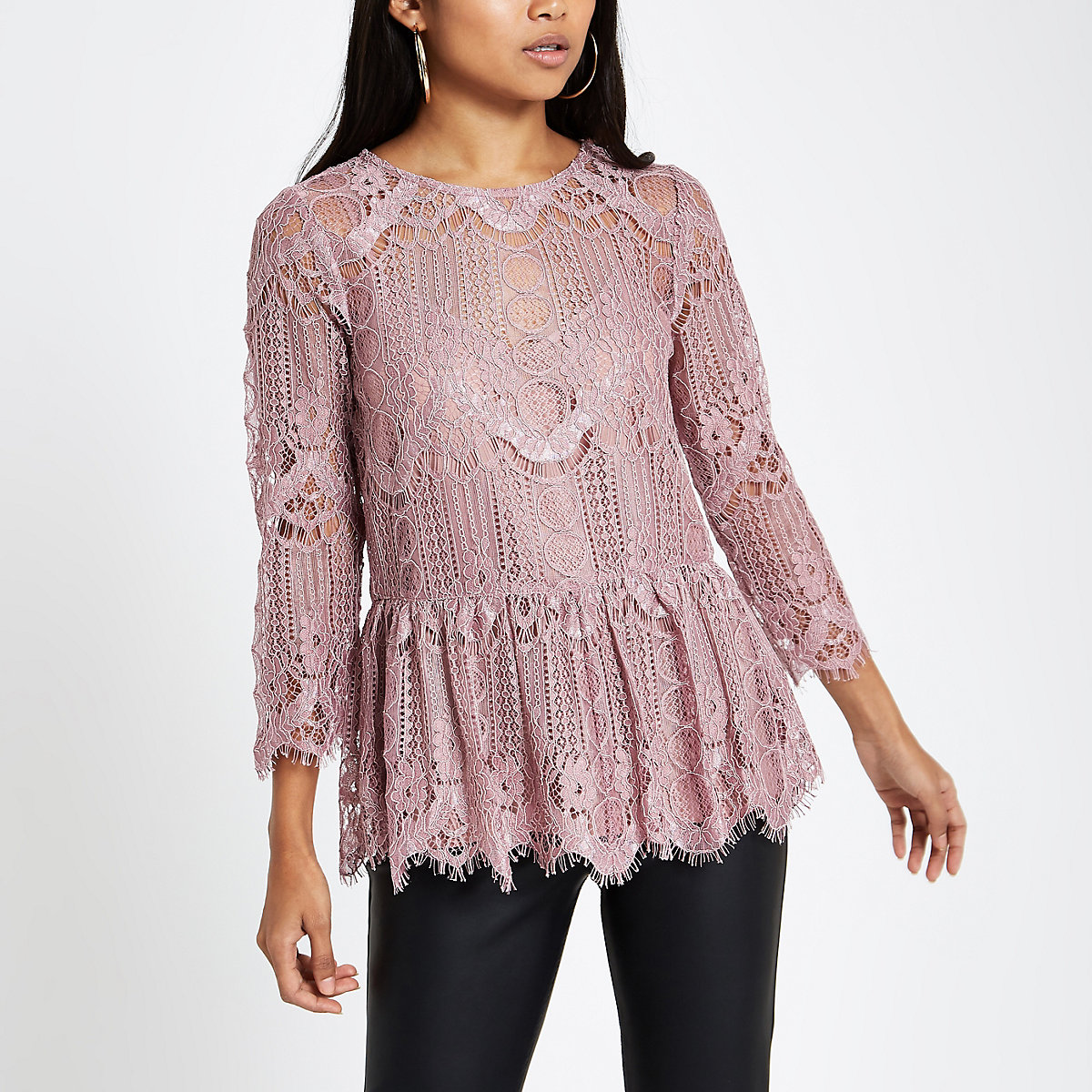 Petite pink lace swing top