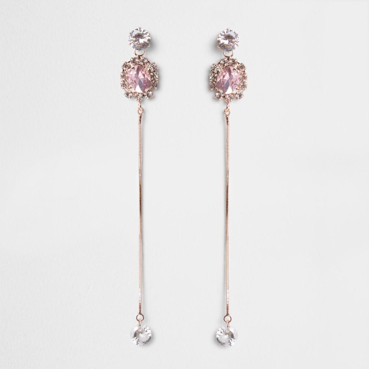 Rose gold tone rhinestone chain drop earrings