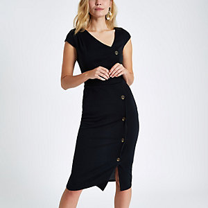 Black button short sleeve midi bodycon dress