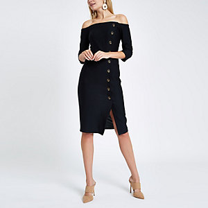 Black bardot button front bodycon midi dress