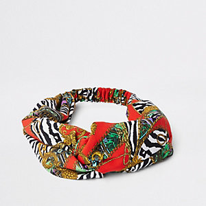 Red scarf print wide twist headband