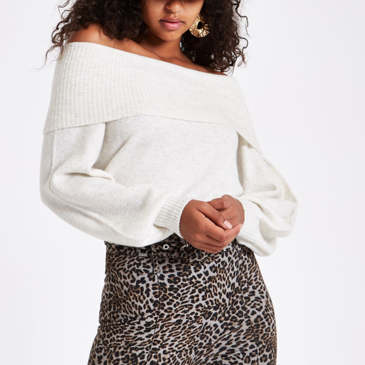 Cream knit bardot sweater