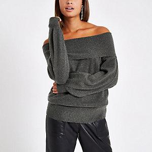 Dark grey knit bardot jumper
