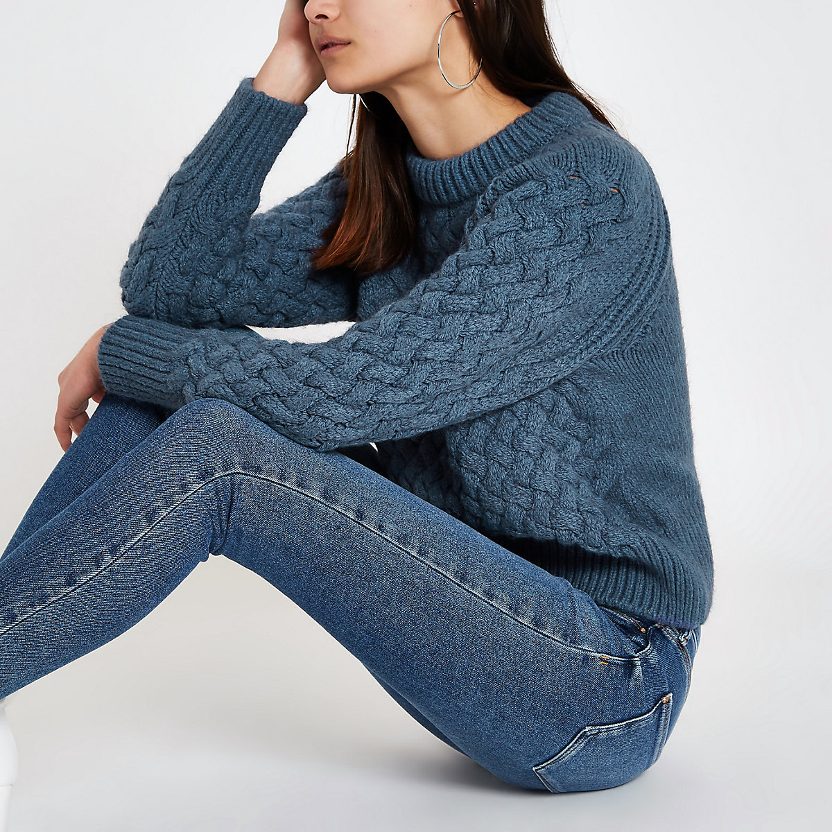 Blue cable knit long sleeve sweater