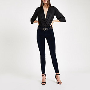 Navy velvet Molly mid rise jeggings