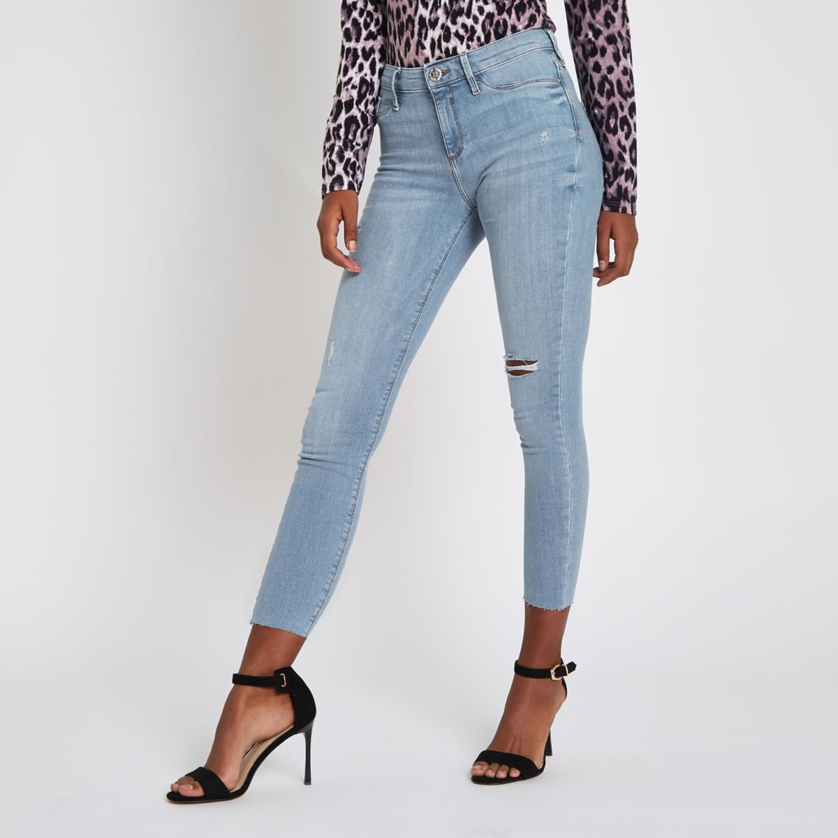 Mid blue denim Molly mid rise ripped jeggings