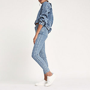 Amelie – Blaue Super Skinny Jeans mit RI-Monogramm