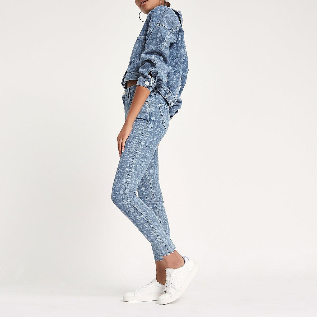 Amelie - Blauwe superskinny jeans met RI-monogram