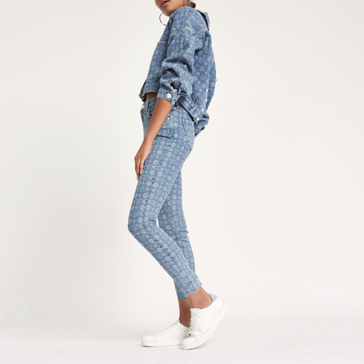 Blue Amelie RI monogram super skinny jeans