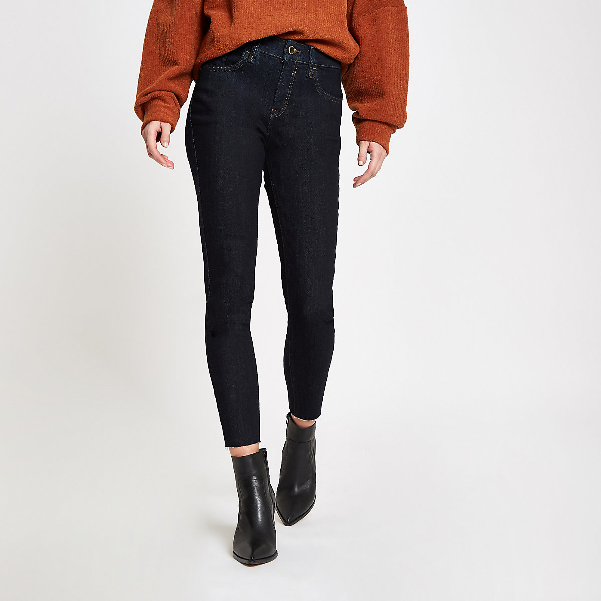 Amelie – Dunkelblaue Super Skinny Jeans mit offenem Saum
