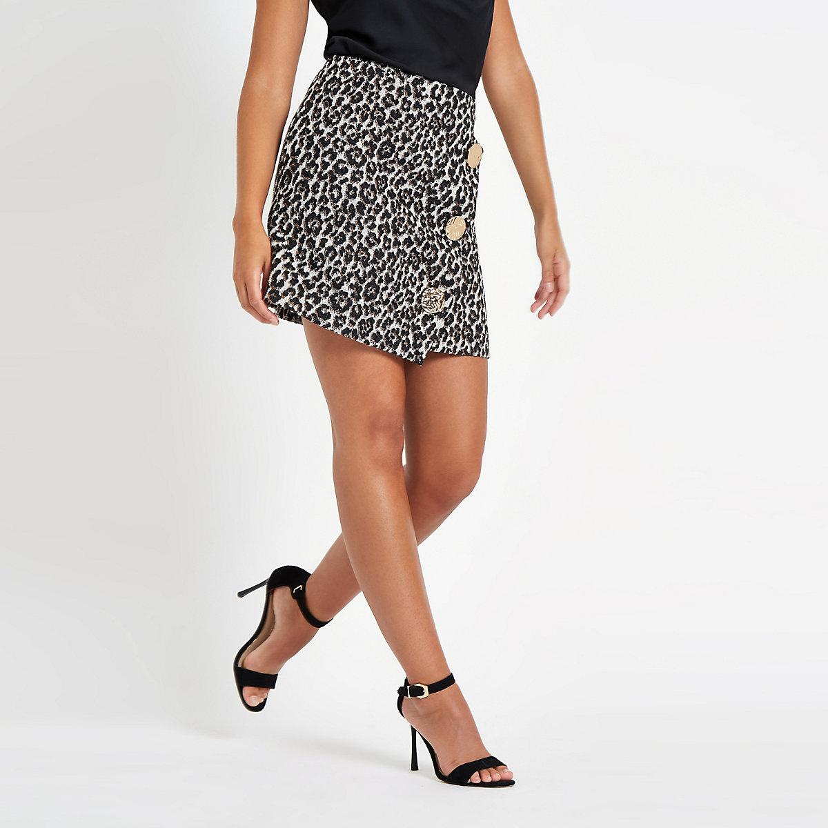 Brown leopard print wrap front mini skirt