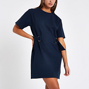 Navy drawstring waist mini dress