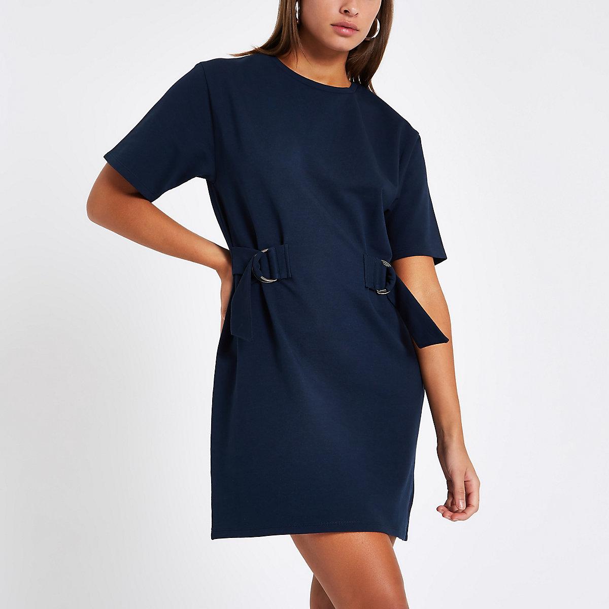 Navy drawstring waist mini dress