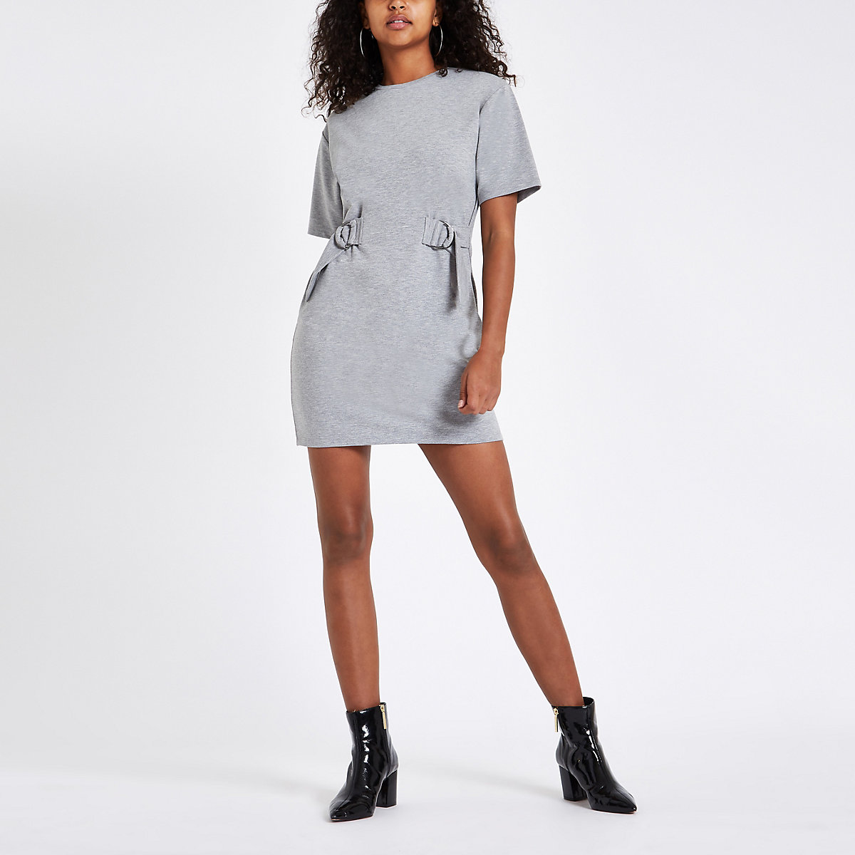 Grey drawstring waist mini dress