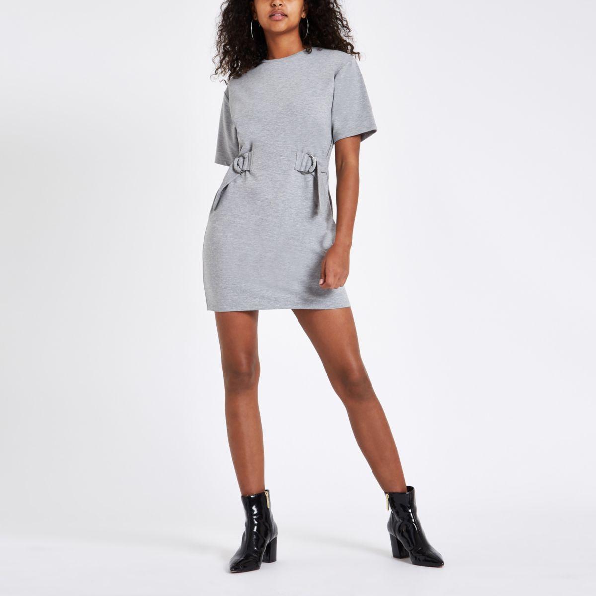 Grey drawstring waist mini dress