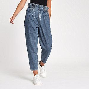 Blue studded paperbag waist jeans