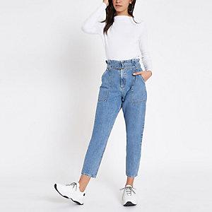 Mid blue denim belted paperbag waist jeans