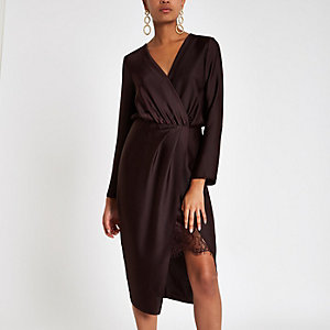 Burgundy wrap front waisted midi dress