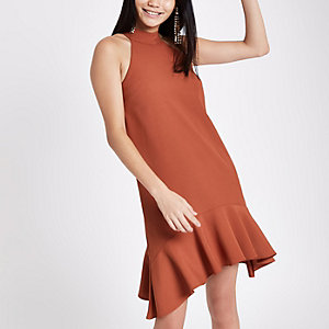 Rust frill hem halterneck swing dress