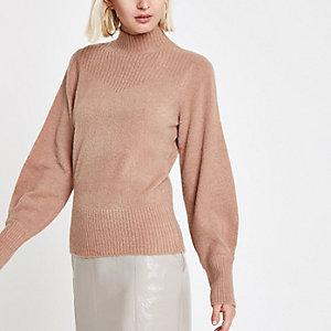 Beige gebreide pullover met col