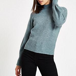 Blauwe gebreide pullover met col en wijduitlopende mouwen