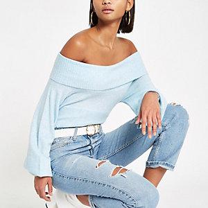 Light blue knit bardot sweater