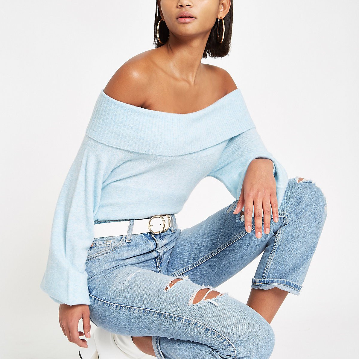 Light blue knit bardot sweater