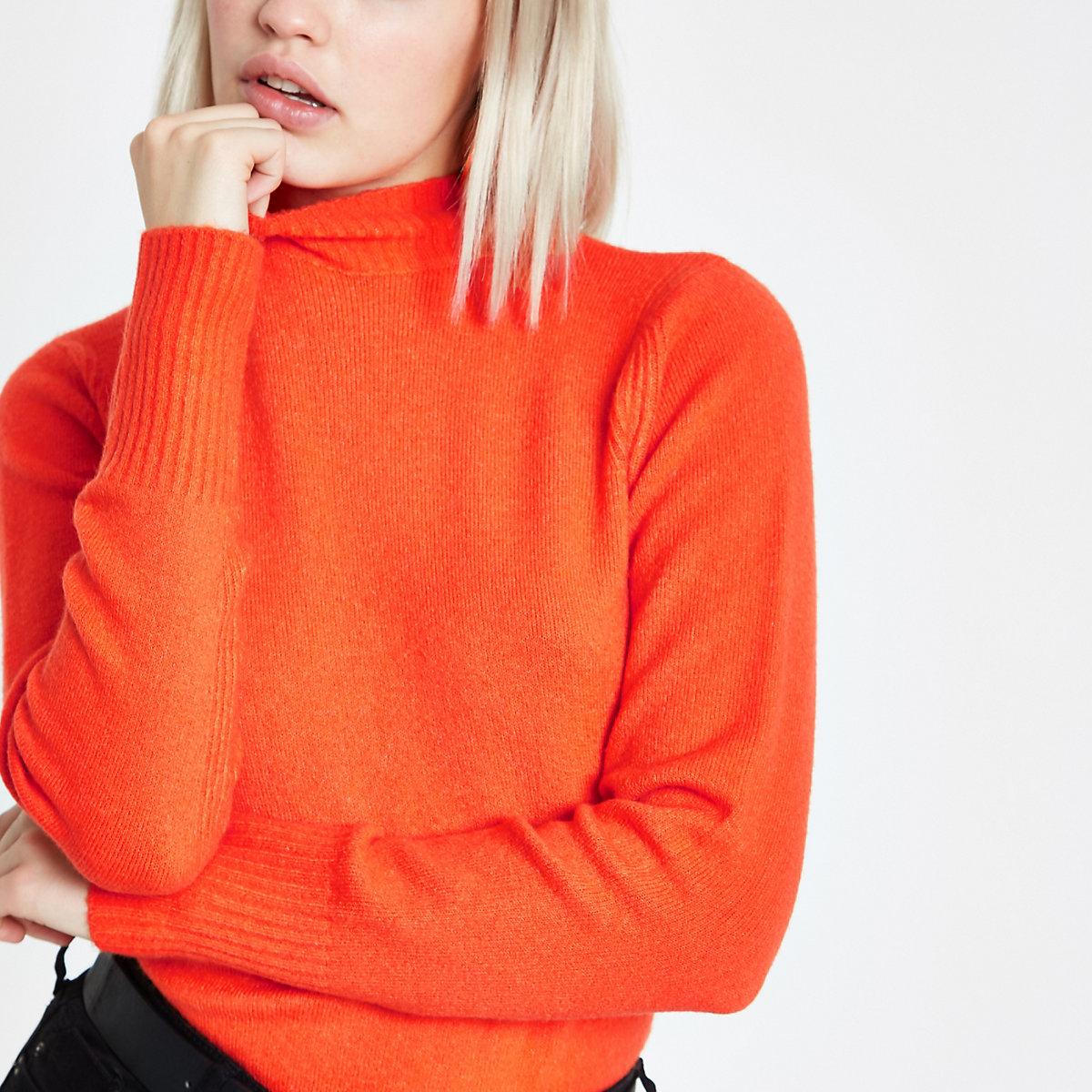 Orange turtle neck knit sweater
