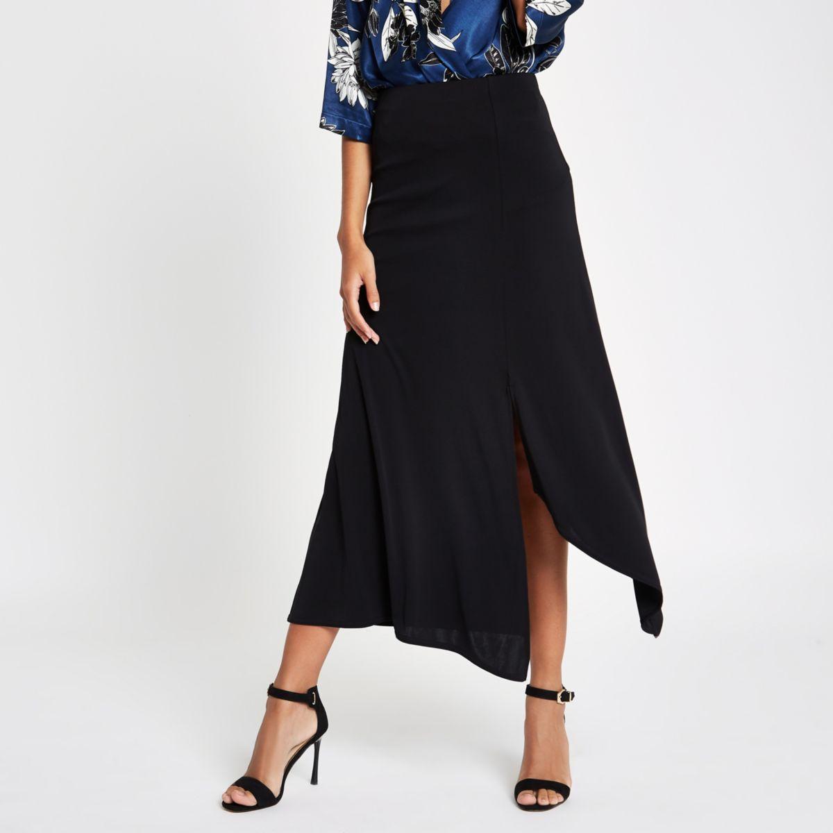 Black jersey midi skirt