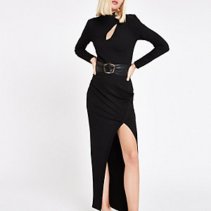 RI Studio black belted maxi bodycon dress