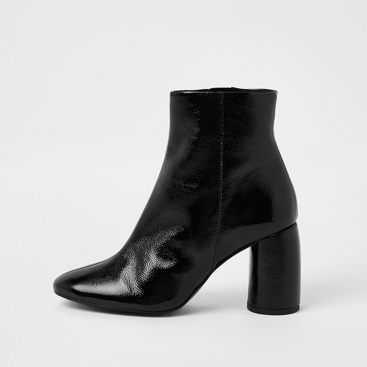 Black shiny leather bubble heel ankle boots