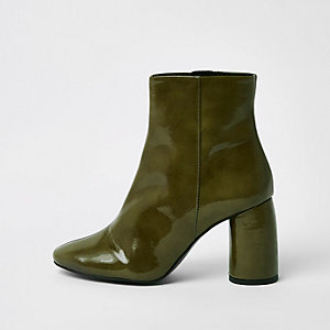 Green shiny leather bubble heel ankle boots