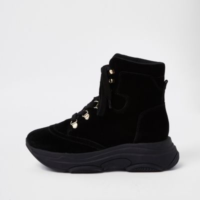 Black Lace Up Runner Sole Boots by River Island