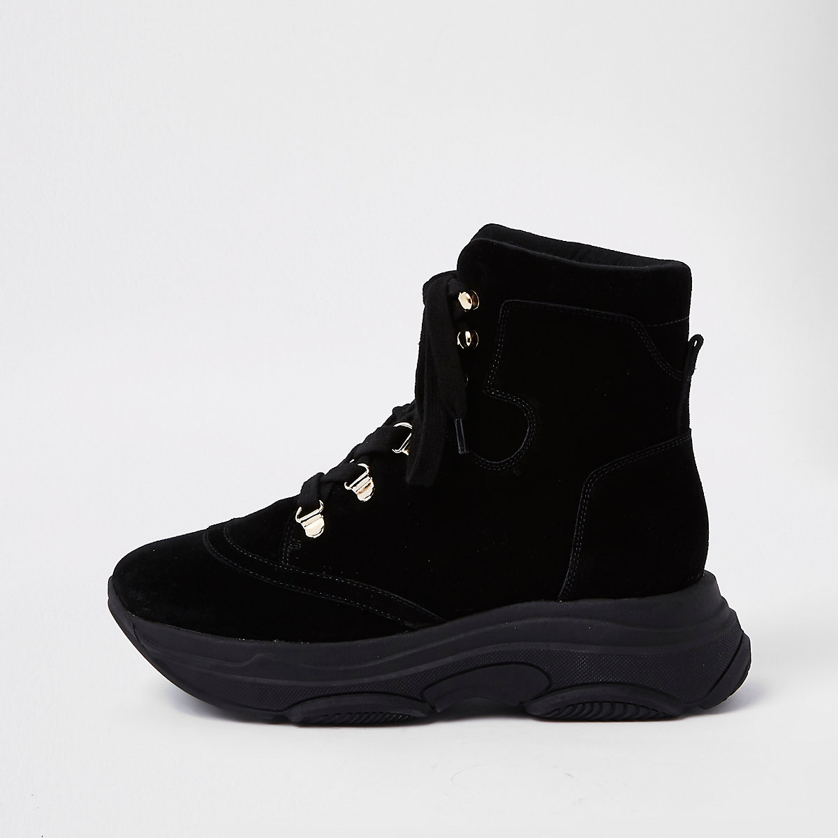 Black lace-up runner sole boots