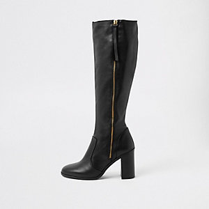 Black leather zip side knee high boots