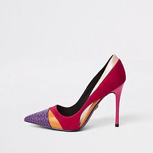 Bright pink colour block wide fit court shoes