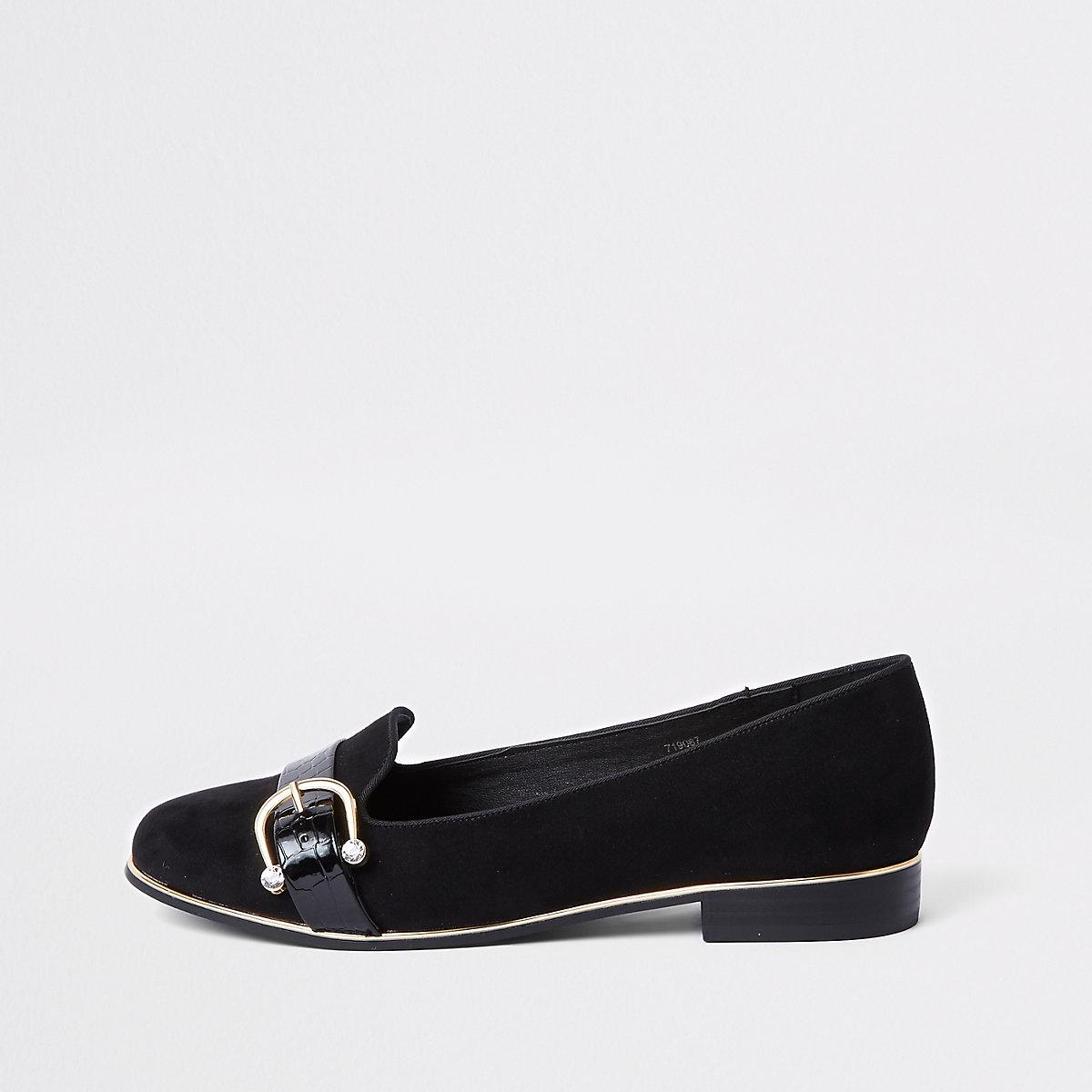 Black wide fit rhinestone buckle ballet shoe