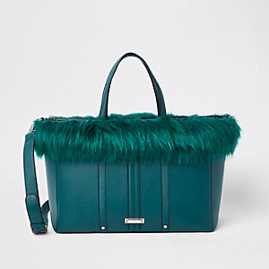 Dark green faux fur trim winged tote bag