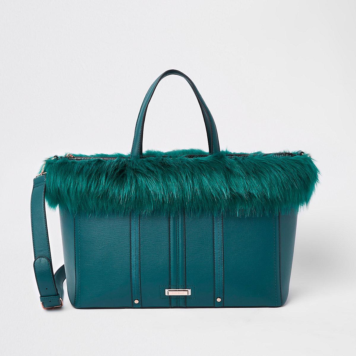 Dark green faux fur trim winged tote bag