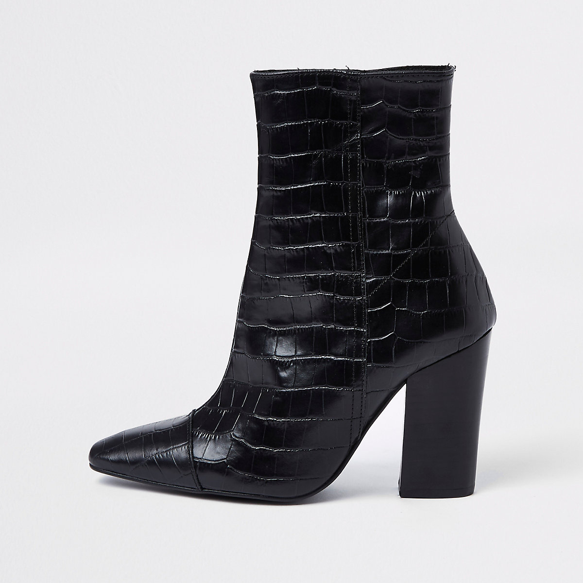 Black croc embossed block heel boots