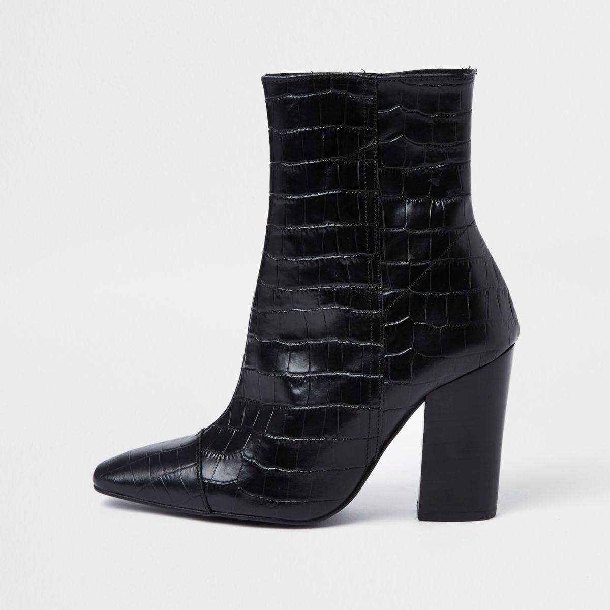 Black croc embossed block heel boots