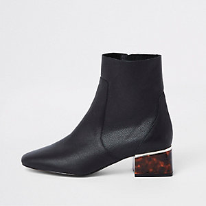 Black leather tortoise shell block heel boots