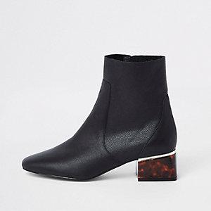 Black leather tortoise shell block heel boots