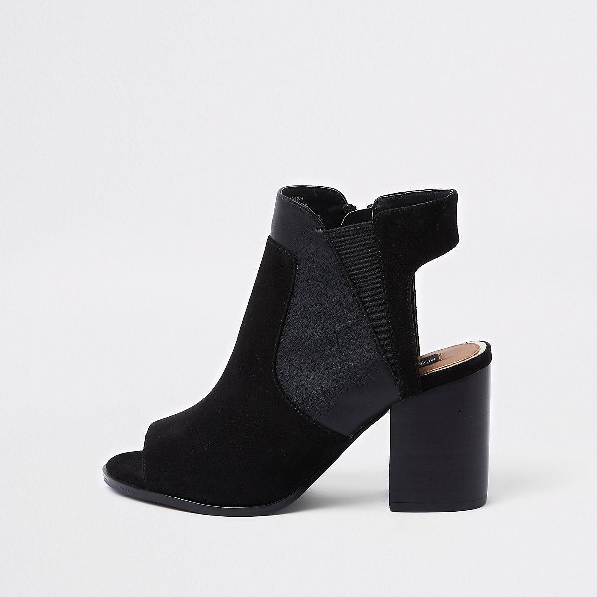 52a1714cb88 Black wide fit block heel shoe boots - Shoes - Shoes   Boots - women