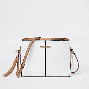 White triple compartment cross body bag