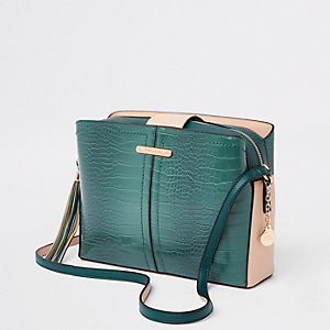 Dark green triple compartment cross body bag