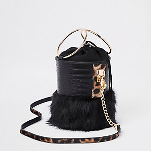 Black faux fur croc round cross body bag
