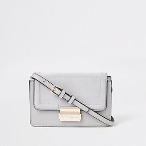 Light grey mini boxy cross body bag