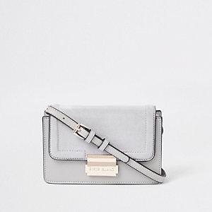 Mini sac à bandoulière gris clair rigide