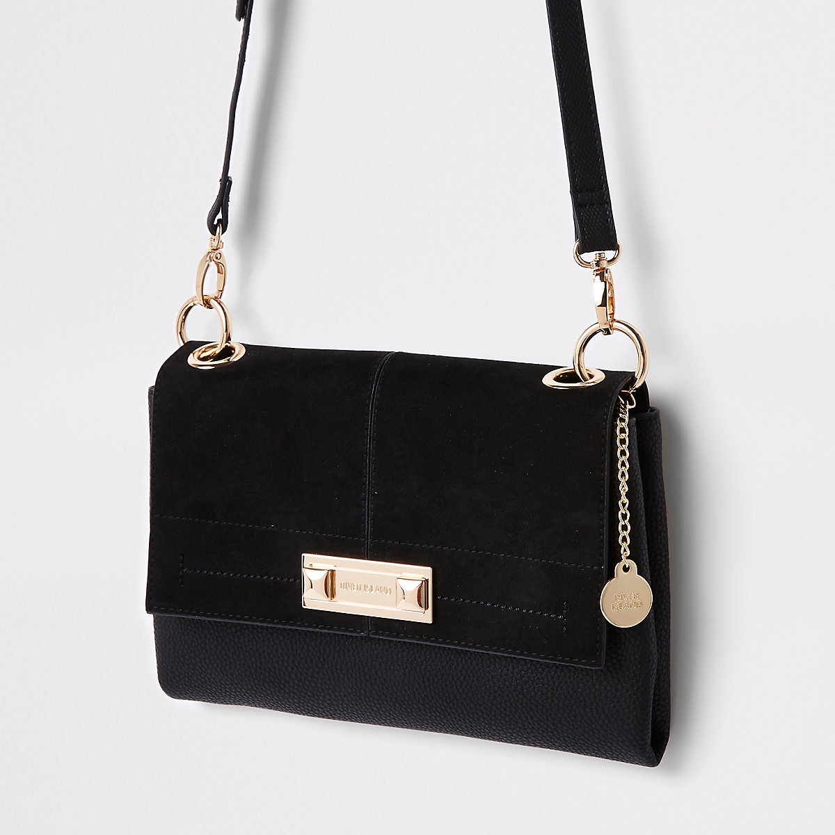 Black front lock cross body bag